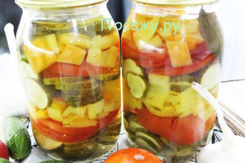 Салат на зиму из огурцов, помидоров и болгарского перца